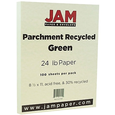 JAM Paper® Parchment Paper, 8.5 x 11, 24lb Green Recycled, 100/pack (27261)