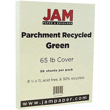 JAM Paper® Parchment Cardstock, 8.5 x 11, 65lb Green Recycled, 50/pack (27561)