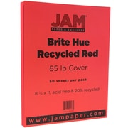 JAM Paper® Bright Color Cardstock, 8.5 x 11, 65lb Red Recycled, 50/pack (101378)