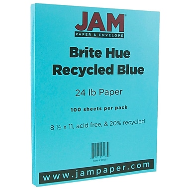 JAM Paper® Bright Color Paper, 8.5 x 11, 24lb Brite Hue Blue Recycled, 100/pack (101592)