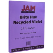 JAM Paper® Bright Color Paper, 8.5 x 11, 24lb Brite Hue Violet Purple, 100/pack (102129)