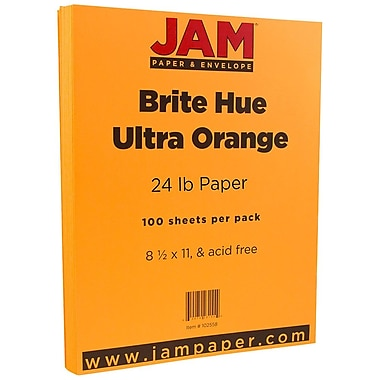 JAM Paper® Bright Color Paper, 8.5 x 11, 24lb Brite Hue Ultra Orange, 100/pack (102558)