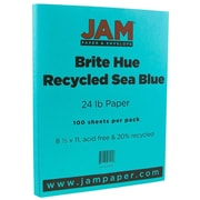 "JAM Paper® 24 lb. 8 1/2"" x 11"" Brite Hue Recycled Paper, Sea Blue, 100 Sheets/Pack"
