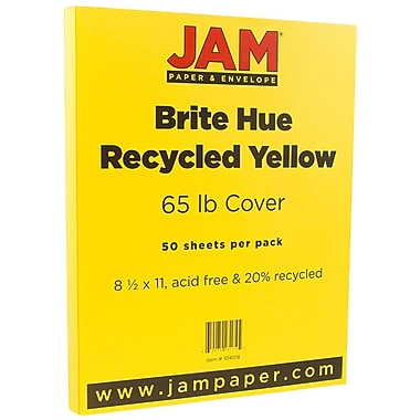 JAM Paper® Bright Color Cardstock, 8.5 x 11, 65lb Yellow Recycled, 50/pack (104018)