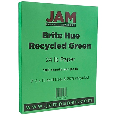 JAM Paper® Bright Color Paper, 8.5 x 11, 24lb Brite Hue Green Recycled, 100/pack (104083)