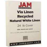 "JAM Paper® 24 lb. 8 1/2"" x 11"" Strathmore Linen Paper, Natural White, 100 Sheets/Pack"
