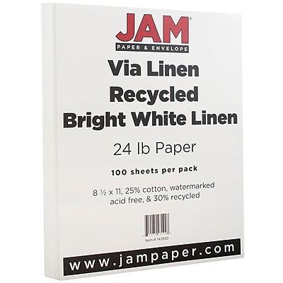 JAM Paper Strathmore Paper 8.5 x 11 24lb Bright White Linen 100 pack 143920