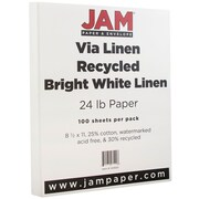 "JAM Paper® 24 lb. 8 1/2"" x 11"" Strathmore Linen Paper, Bright White, 100 Sheets/Pack"