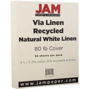 "JAM Paper® 80 lb. 8 1/2"" x 11"" Strathmore Linen Cover Cardstock, Natural White, 50 Sheets/Pack"