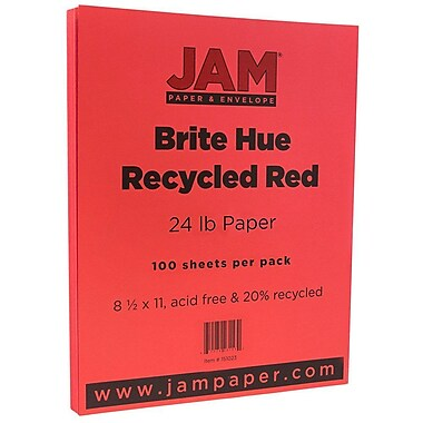 JAM Paper® Bright Color Paper, 8.5 x 11, 24lb Brite Hue Red Recycled, 100/pack (151023)