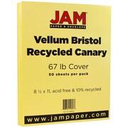 """JAM Paper® 67 lb. 8 1/2"""" x 11"""" Vellum Bristol Cardstock, Canary, 50/Pack"""