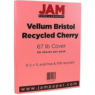 JAM Paper® Vellum Bristol Cardstock, 8.5 x 11, 67lb Cherry Red, 50/pack (169823)