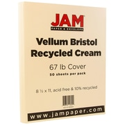 JAM Paper® Vellum Bristol Cardstock, 8.5 x 11, 67lb Cream Ivory, 50/pack (169824)