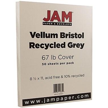 JAM Paper® Vellum Bristol Cardstock, 8.5 x 11, 67lb Grey, 50/pack (169827)