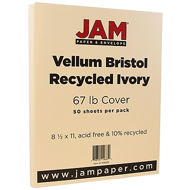 JAM Paper® Vellum Bristol Cardstock, 8.5 x 11, 67lb Ivory, 50/pack (169828)