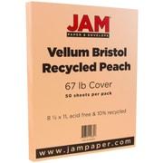 """JAM Paper® 67 lb. 8 1/2"""" x 11"""" Vellum Bristol Cardstock, Peach, 50/Pack"""