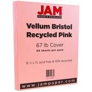 """JAM Paper® 67 lb. 8 1/2"""" x 11"""" Vellum Bristol Cardstock, Pink, 50/Pack"""