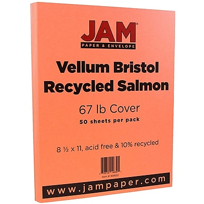 JAM Paper Vellum Bristol Cardstock 8.5 x 11 67lb Salmon Pink 50 pack 169832