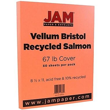 JAM Paper® Vellum Bristol Cardstock, 8.5 x 11, 67lb Salmon Pink, 50/pack (169832)