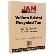 JAM Paper® Vellum Bristol Cardstock, 8.5 x 11, 67lb Tan Brown, 50/pack (169833)