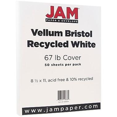 JAM Paper® Vellum Bristol Cardstock, 8.5 x 11, 67lb White, 50/pack (169834)