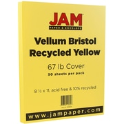 """JAM Paper® 67 lb. 8 1/2"""" x 11"""" Vellum Bristol Cardstock, Yellow, 50/Pack"""