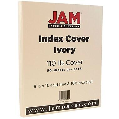 JAM Paper® Vellum Bristol Index Cardstock, 8.5 x 11, 110lb Ivory, 50/pack (169851)