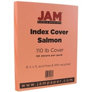"JAM Paper® Salmon Index 110 lb. Cover 8.5"" x 11"", 50/Pack"