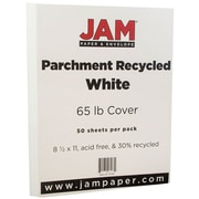 JAM Paper® Parchment Cardstock, 8.5 x 11, 65lb White Recycled, 50/pack (171114)