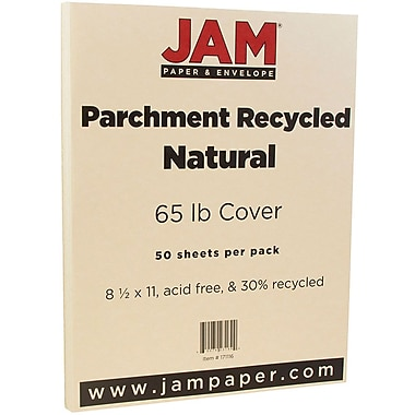 JAM Paper® Parchment Cardstock, 8.5 x 11, 65lb Natural Recycled, 50/pack (171116)