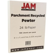 JAM Paper® Parchment Paper, 8.5 x 11, 24lb Pewter Recycled, 100/pack (171118)