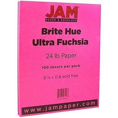 JAM Paper® Bright Color Paper, 8.5 x 11, 24lb Brite Hue Ultra Fuchsia Pink, 100/pack (184931)