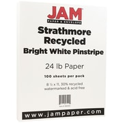 "JAM Paper® 24 lb. 8 1/2"" x 11"" Strathmore Pinstripe Paper, Bright White, 100 Sheets/Pack"