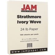 JAM Paper® Strathmore Paper, 8.5 x 11, 24lb Ivory Wove, 100/pack (191259)