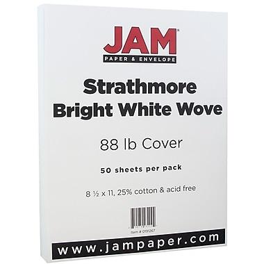 JAM Paper® Strathmore Cardstock, 8.5 x 11, 80lb Bright White Wove, 50/pack (191267)