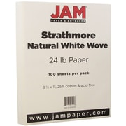 "JAM Paper® 24 lb. 8 1/2"" x 11"" Strathmore Paper, Natural White, 100 Sheets/Pack"
