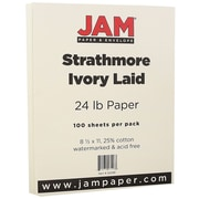JAM Paper® Strathmore Paper, 8.5 x 11, 24lb Ivory Laid, 100/pack (300181)