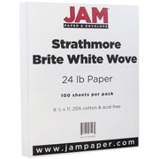 "JAM Paper® 24 lb. 8 1/2"" x 11"" Strathmore Paper, Bright White, 100 Sheets/Pack"