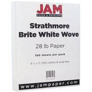 "JAM Paper® 28 lb.. 8 1/2"" x 11"" Strathmore Paper, Bright White, 100 Sheets/Pack"