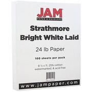 JAM Paper® Strathmore Paper, 8.5 x 11, 24lb Bright White Laid, 100/pack (300420)