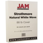 "JAM Paper® 80 lb. 8 1/2"" x 11"" Strathmore Cover Cardstock, Natural White, 50 Sheets/Pack"