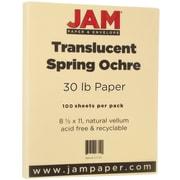JAM Paper® Translucent Vellum Paper, 8.5 x 11, 30lb Spring Ochre Ivory/Ivory, 100/pack (301768)
