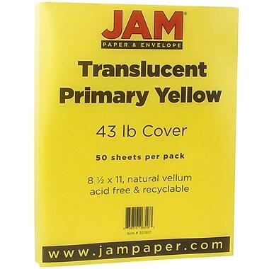 JAM Paper® Translucent Vellum Cardstock, 8.5 x 11, 43lb Yellow, 50/pack (301801)
