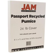 JAM Paper® Recycled Paper, 8.5 x 11, 24lb Pumice White, 100/pack (871002)