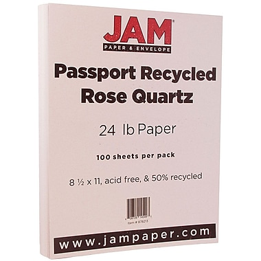 JAM Paper® Recycled Paper, 8.5 x 11, 24lb Rose Quartz, 100/pack (878213)