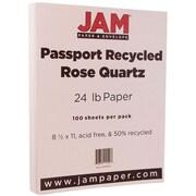 JAM Paper® Recycled Paper, 8.5 x 11, 24lb Rose Quartz, 100/pack (878213)