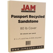 JAM Paper® Recycled Cardstock, 8.5 x 11, 80lb Sandstone Ivory, 50/pack (880615)
