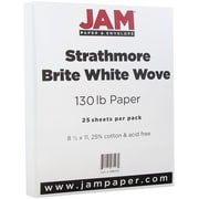 """JAM Paper® 130 lb. 8 1/2"""" x 11"""" Strathmore Extra Heavy Stiff Cover Cardstock, Bright White, 25 Sheets/Pack"""