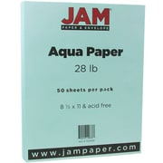 "JAM Paper® 28 lb.. Printer Paper, 8 1/2"" x 11"", Aqua Blue, 50/Pack"