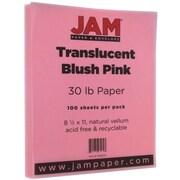 JAM Paper® Translucent Vellum Paper, 8.5 x 11, 30lb Blush Pink, 100/pack (1592203)